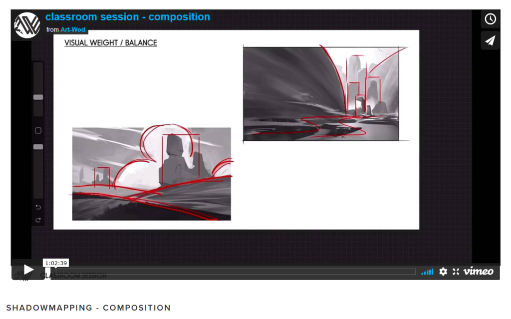 Example of an online art class in a classroom session about composition