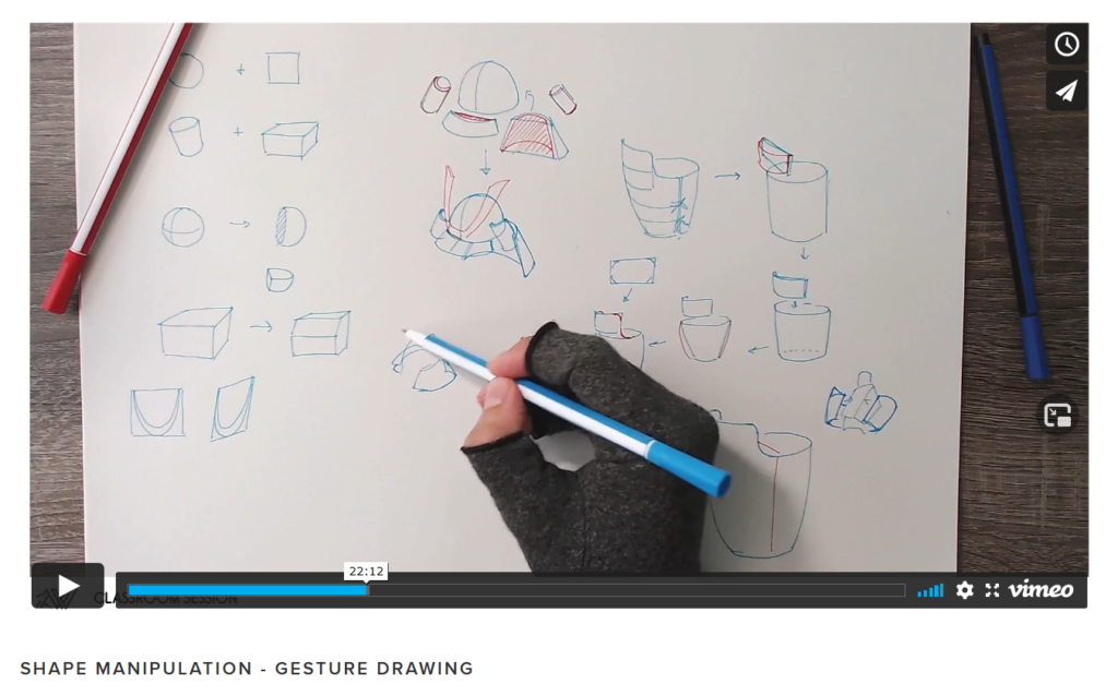 Example of an online art class in a classroom session about gesture drawing