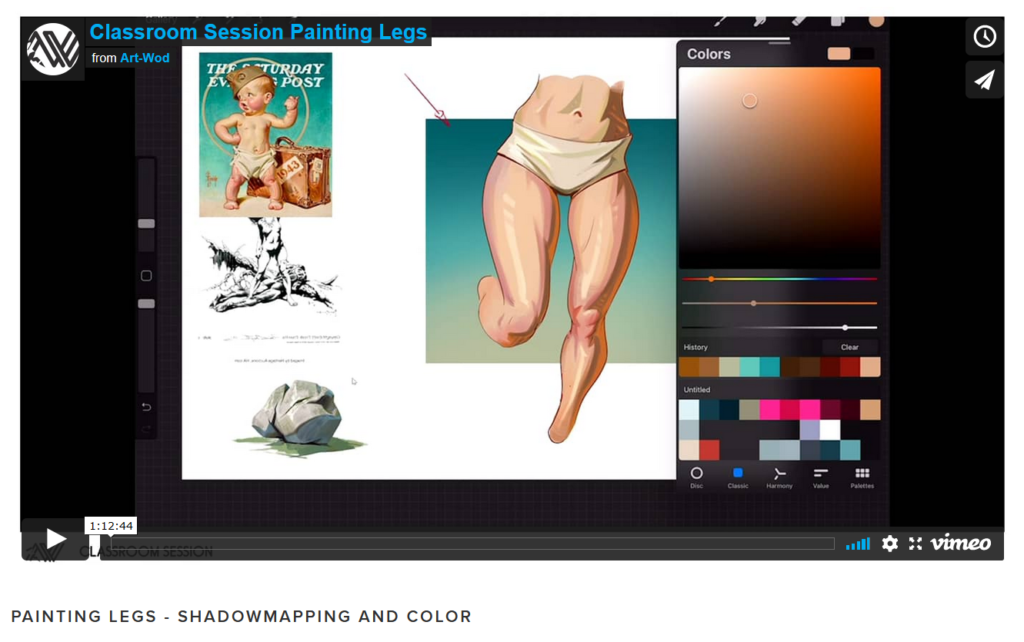 Example of an online art class in a classroom session about shadowmapping and color